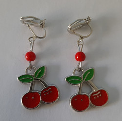 Cherry clip earrings