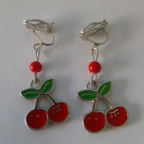 Cherry clip earrings
