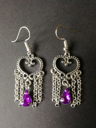 Heart earrings with violet drop