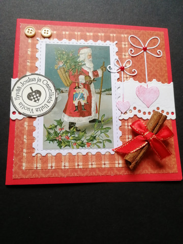 Santa Clause and hearts Christmas card