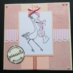 Light pink baby card stork