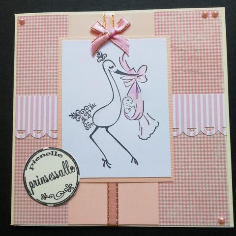 Vauvakortti vaaleanpunainen haikara