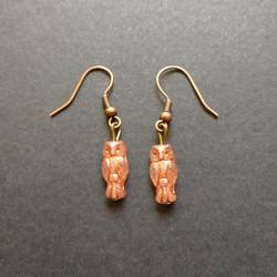 Bronze colour owl earrings