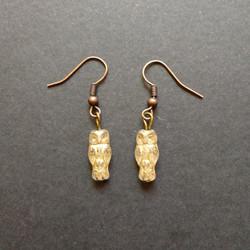 Gold colour owl earrings