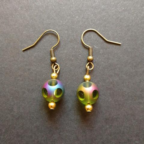 Green steampunk ball earrings