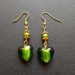 Dark green heart earrings