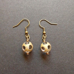Steampunk bead earrings with bronze colout beads