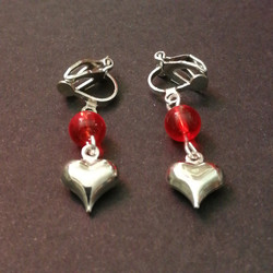 Heart clip earrings