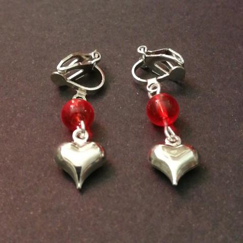 Heart clip earrings