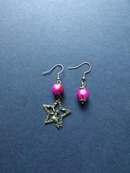 Fairy earring and fuchsia beads earring
