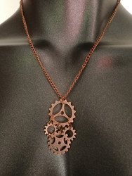 Copper colour gears necklace
