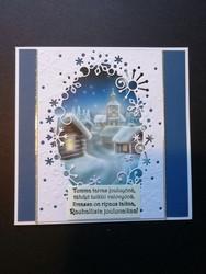 Blue church view Christmas card
