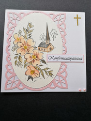 Light pink confirmation card church