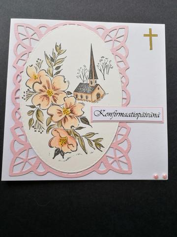 Vaaleanpunaisen sävyinen konfirmaatiokortti kirkko