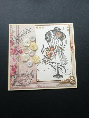 Handmade card sewing