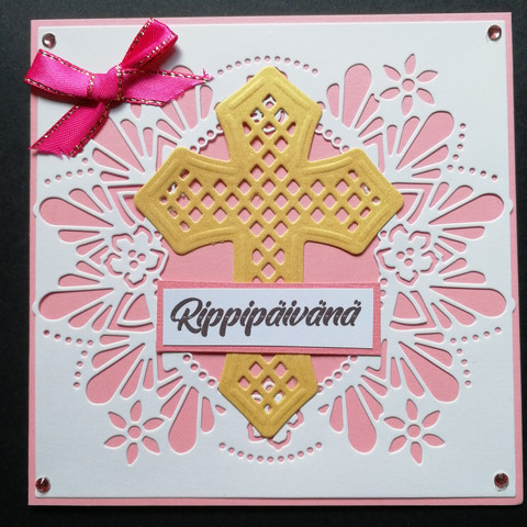 Light pink confirmation card with cross