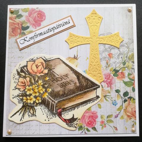 Rippikortti kirja ja risti