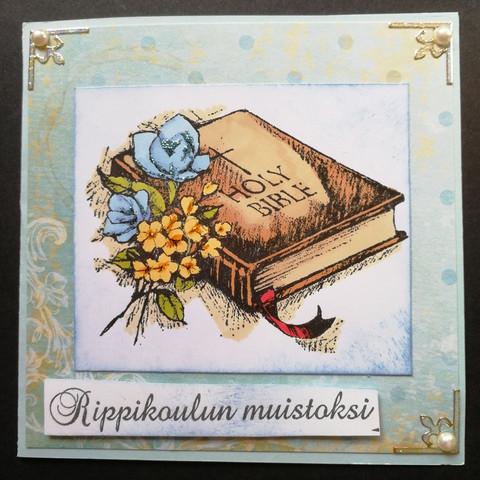 Rippikortti kirja ja risti sininen ruusu