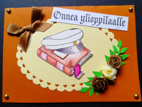 Graduate card with hat and book