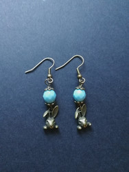 Rabbit earrings with light blue beads