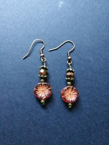 Orange brown flower earrings