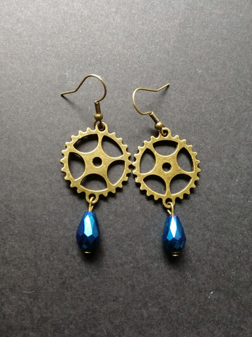 Gear earrings with blue drop