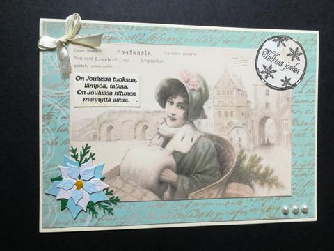 Vintage woman Christmas card