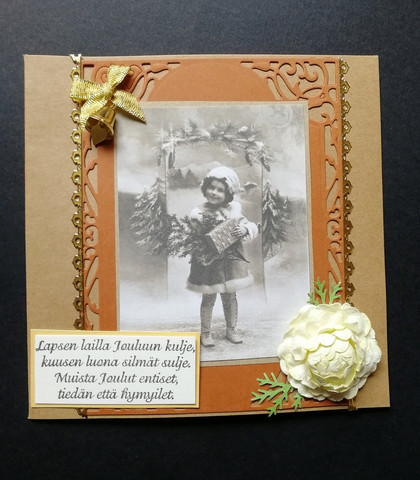 Christmas card with a child and poem