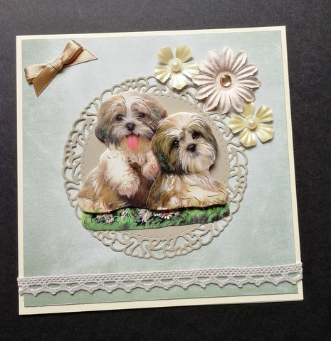 Dog card with flowers and lace