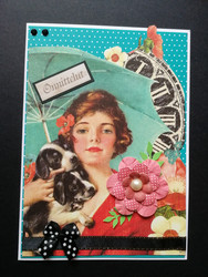 Girl with puppies card