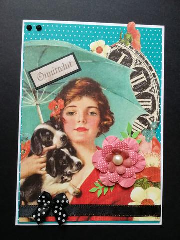 Kortti nainen ja koiranpennut
