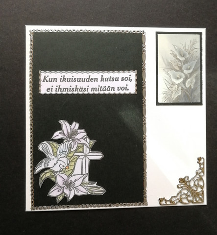 Mourning card with birds and flowers