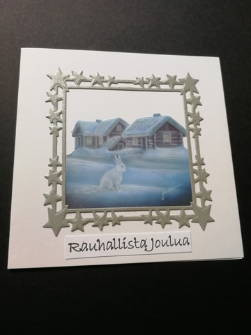Christmas card white rabbit