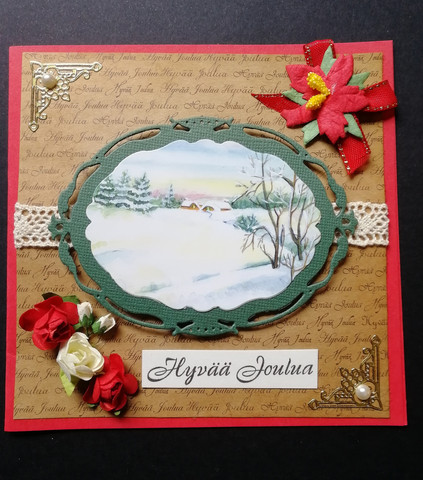 Christmas card scenery and flower