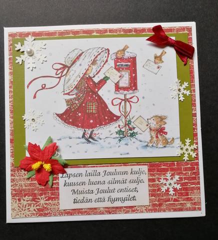 Joulukortti tyttö postilaatikolla
