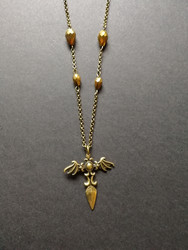 Wings and blade cross necklace
