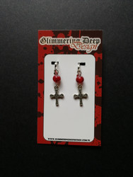 Cross clip earrings with red beads