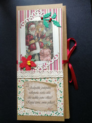 Santa Clause and children chocolate bar card