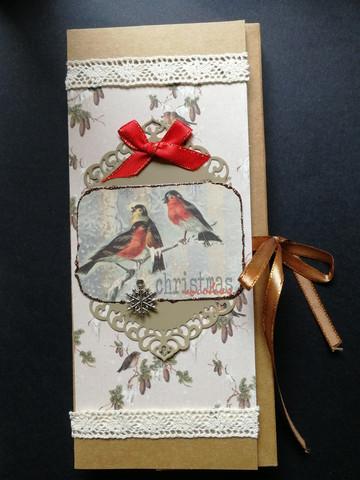 Birds Christmas chocolate bar card