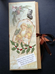 Vintage Santa Clause and child chocolate bar card