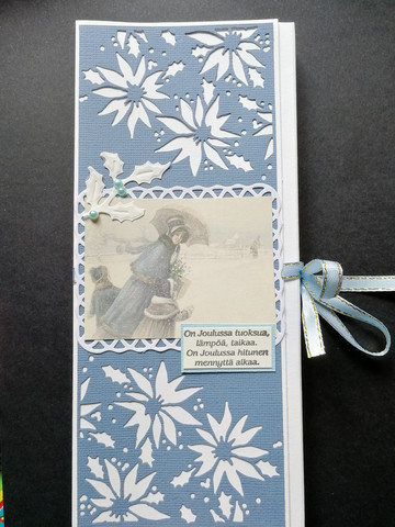 Blue vintage chocolate bar card