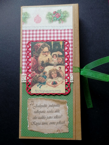 Santa Clause and girl chocolate bar card