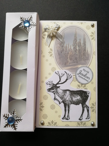 Candle card with a reindeer and winter scenery