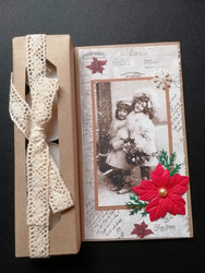 Vintage girls Christmas candle card