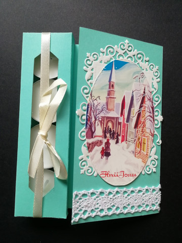 Teal candle card on the way to church