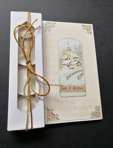 Christmas candle card let it snow