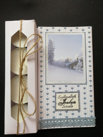 Candle card with a cabin