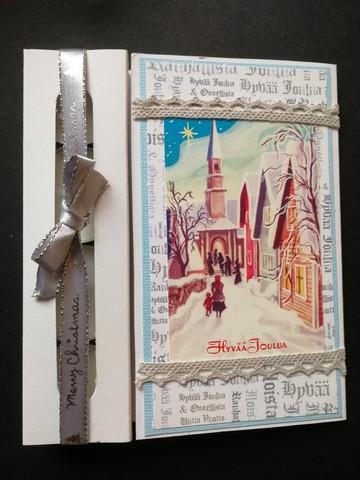 Kynttiläkortti kirkkotie tekstitaustalla