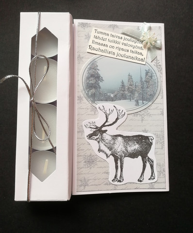 Candle card with a reindeer and a poem