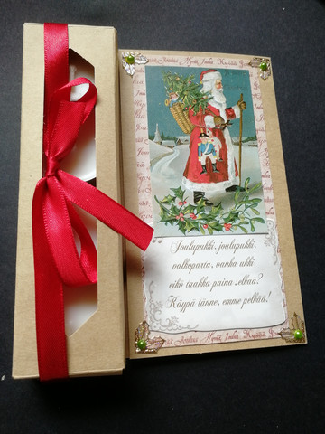 Candle card with Santa and a poem